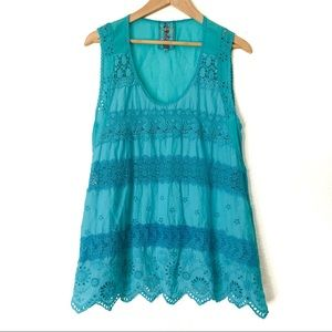 Johnny Was| Teal top| Size M